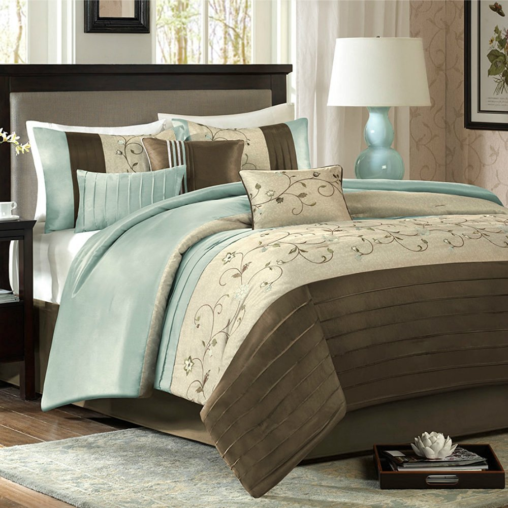 Exceptionnel Get Quotations · Queen Size Modern Comforter Set In Floral Embroidery  Design   7 Piece, Blue / Brown