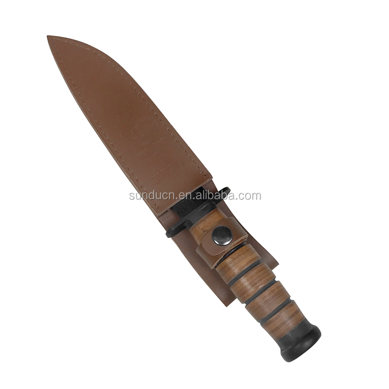 440 Stainless Steel Blade Real Leather Wrapped Handle Kabar 1217 Hunting Knife Fixed Blade Knife