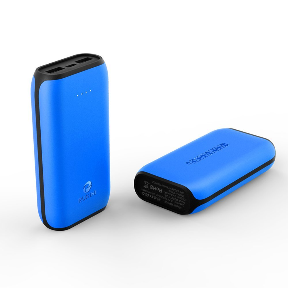 RUKINI 10000mah iSmart 2.0 Charger External Battery Power Bank Portable Charger with 2 USB Outputs LED Flashlight for iPhone 7 Samsung Galaxy Nexus HTC Motorola Nokia BLUE