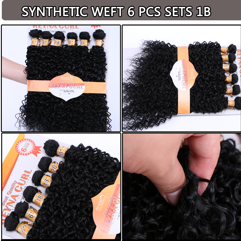 Water wave curly 6 bundles per set ombre color 100% heat resistance synthetic hair weave for afro women