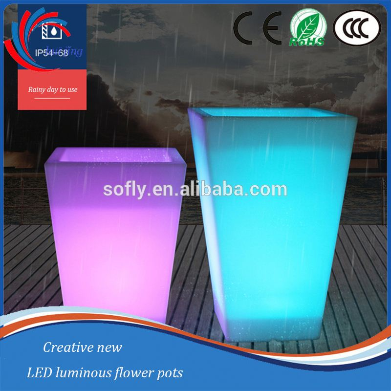 Rotomolding led vase, multicolored outdoor led luminous planter pots, vase led light base