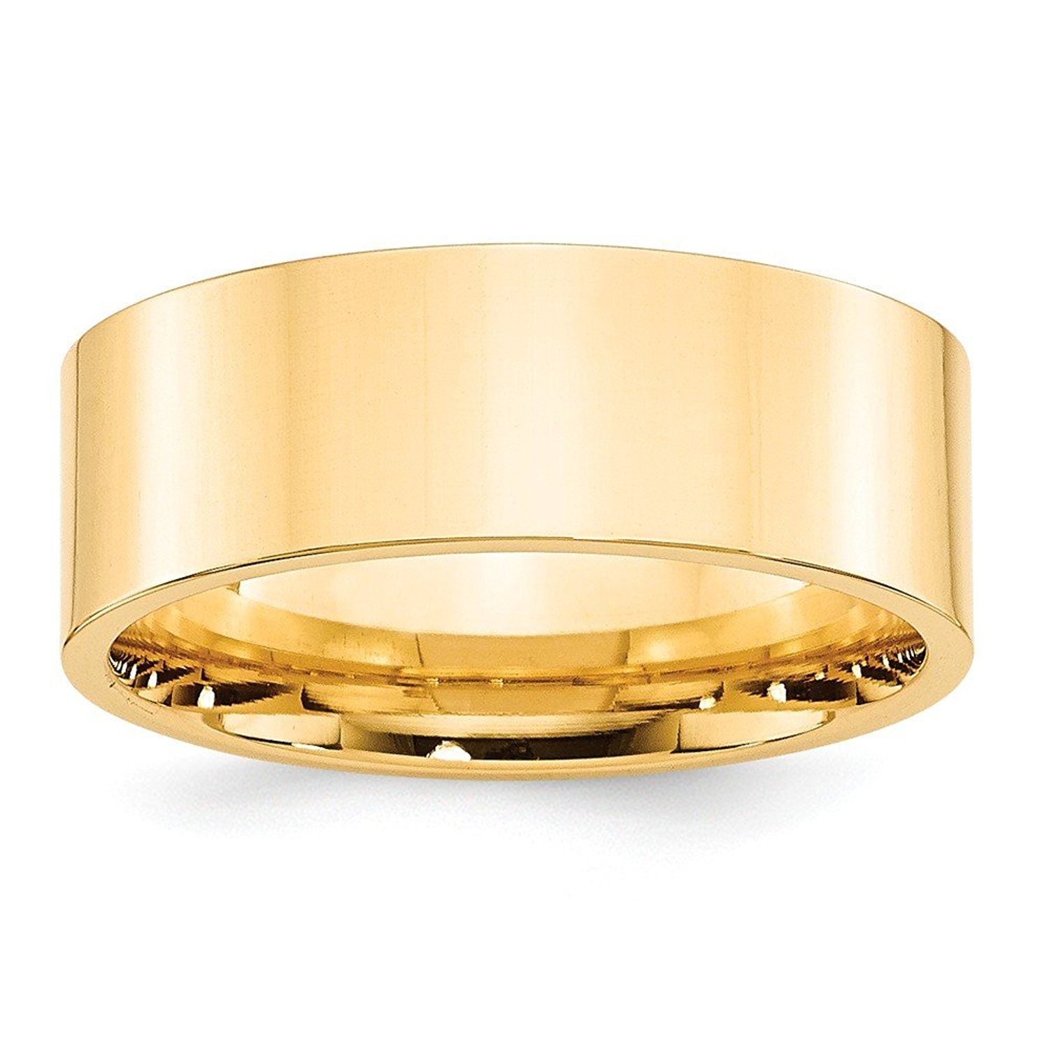 Top 10 Jewelry Gift 14KY 8mm Standard Flat Comfort Fit Band Size 11.5