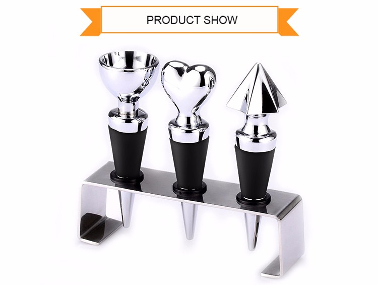 Various Shapes Metal Food Grade Wine Bottle Stopper Set