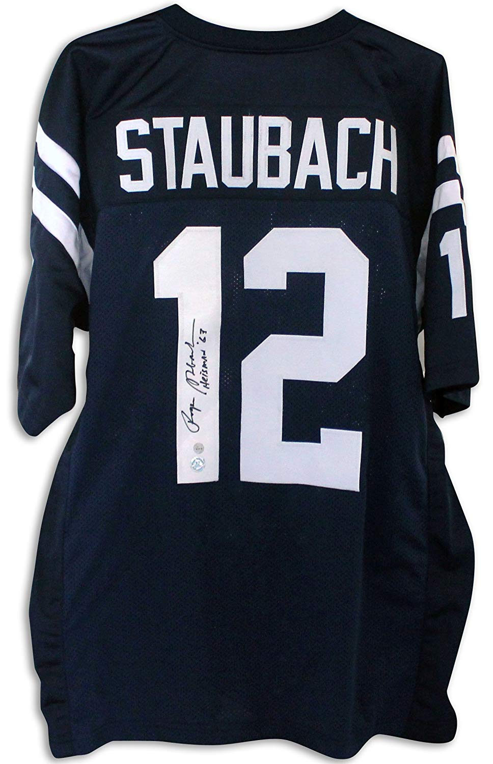 0f81b10cb93 Get Quotations · Roger Staubach US Naval Academy Autographed Blue Jersey  Inscribed