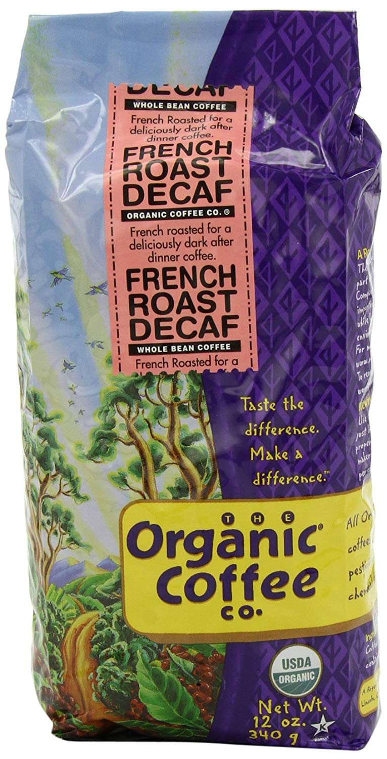 The Organic Coffee Co. Whole Bean, Decaf French Roast, 12 Ounce (Pack of 3)