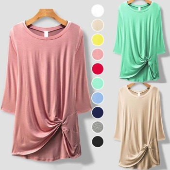 Custom Women 95% Rayon 5% Spandex Solid Knit 3/4 Sleeve Front Twisted Knot Top