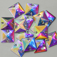 More shining than glass quality Clear AB Flatback Square shape Resin Sew On Rhinestones Crystal AB Flat Back Sewing Stones