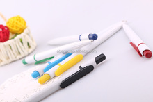 Wholesale Classic design custom white plastic ball pen with logo for school&office supplies