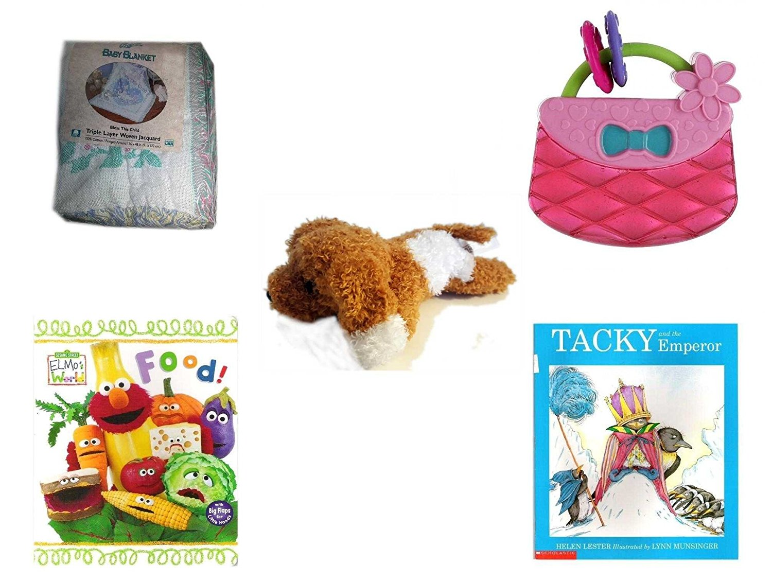 """Children's Gift Bundle - Ages 0-2 [5 Piece] - Baby Blanket """"Bless This Child"""" Triple Layer Woven Jaquard - Bright Starts Pretty in Pink Carry Teethe Purse - Amazimals Brown & White Puppy - Elmo's Wo"""