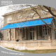 Aluminum alloy material retractable motorized folding arms awning