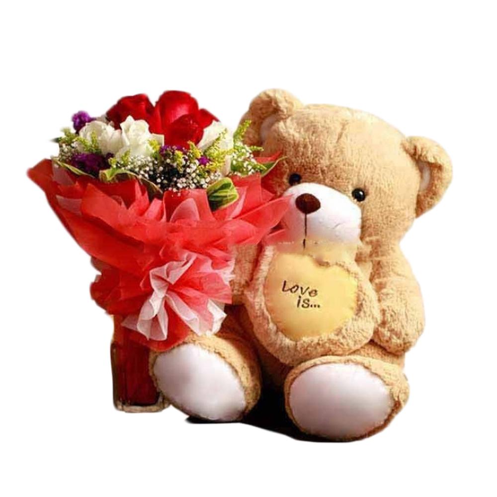 Картинки плюшевые мишки с цветами и подарками