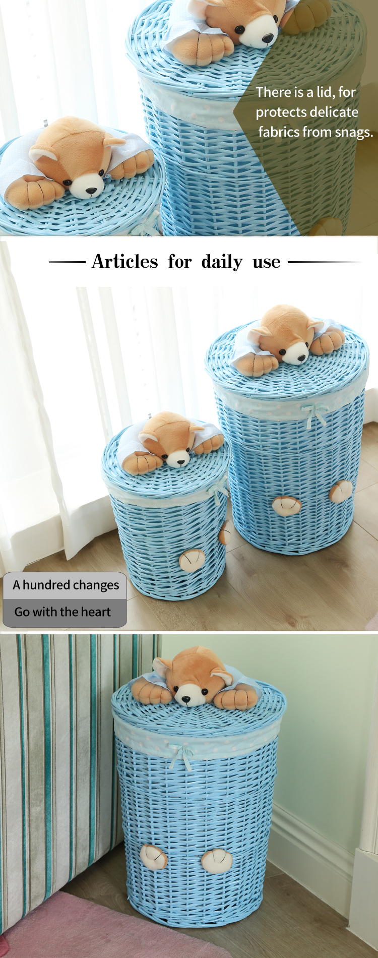 KINGWILLOW,  Clothing Use and Wicker Material storage basket with lid