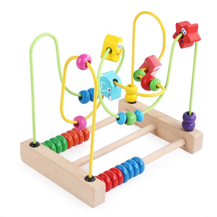 Playing Activity Cube Ocean Educational Wooden Bead Roller Coaster Mini Wire Wooden Bead Maze Toys for Kids