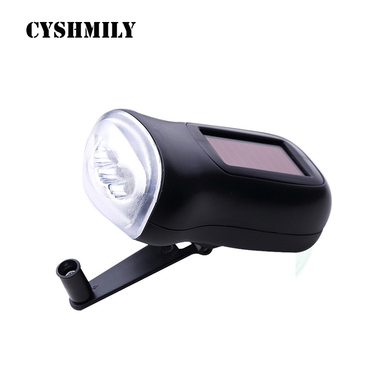 CYSHMILY Portable Colourful Hand Crank Power Generation 3 Led Waterproof Mini Dynamo Solar Flashlight