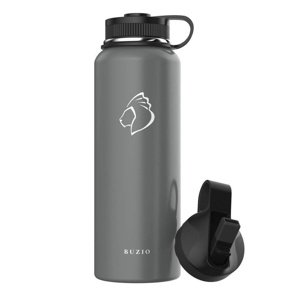 BUZIO Stainless Steel Water Bottle (Cold for 48 Hrs, Hot for 24 Hrs), 40 oz Vacuum Insulated Water Bottle with Straw Lid and Flex Cap (Double Wall, Wide Mouth, BPA Free, Leak Proof, Sweat Free)- Grey