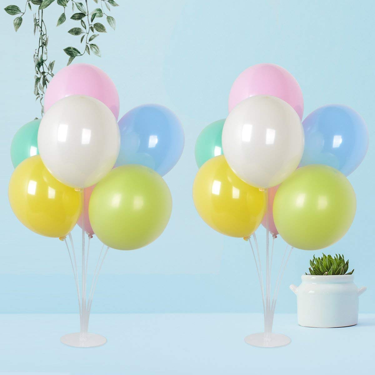 2 set 12 inch Latex Balloons Pastel Assorted Color Party Balloons with Column Stand Kit Base for Baby Shower,Party Weeding Decoration