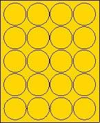 """2"""" Round Brilliant Yellow Labels for Laser Printers, Inkjet Printers or Copier Machines. (GLC200BY)"""