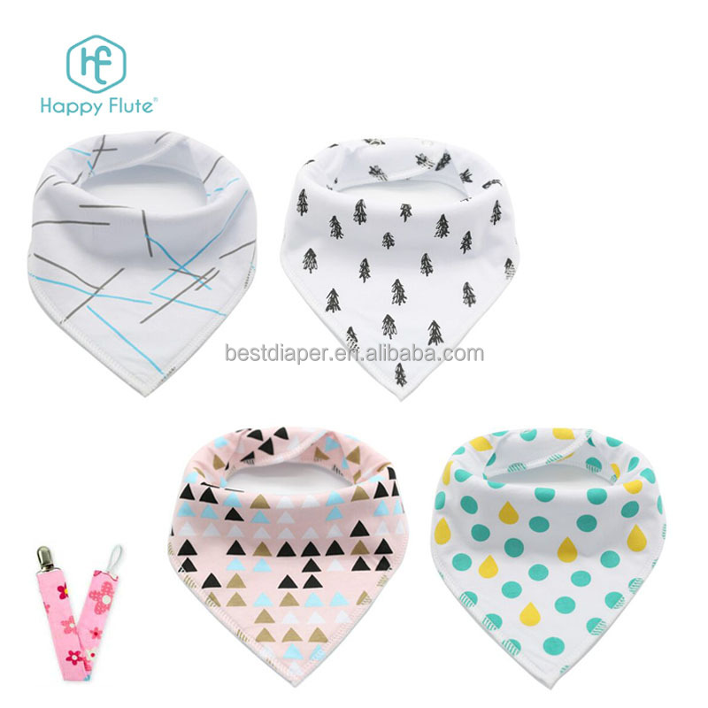 happy flute organic cotton muslin fabric baby drool bibs bandana baby bibs for boys and girls