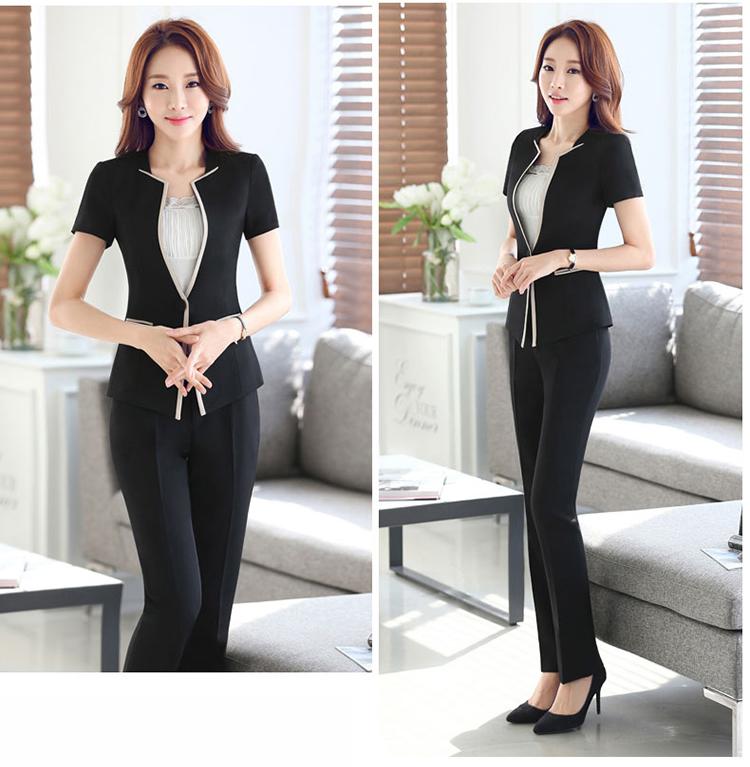 e07c5cc3b91db ofis iş kadınları iş elbisesi için zarif resmi blazer ceket ve pantolon  takım elbise