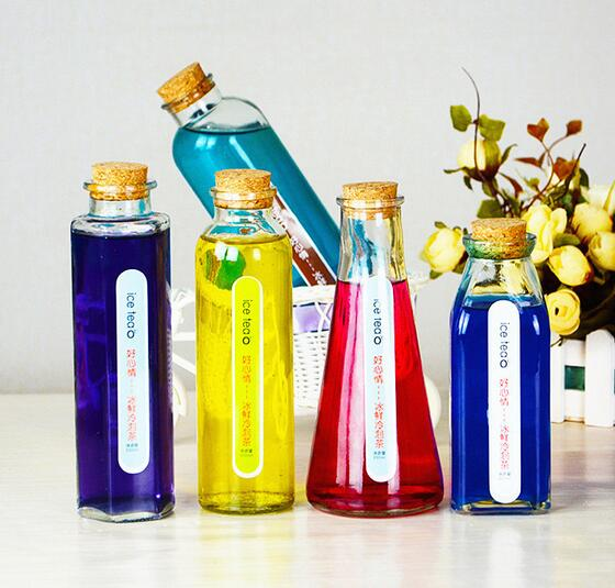 New shape 350~500ml juice glass bottle with cork lid