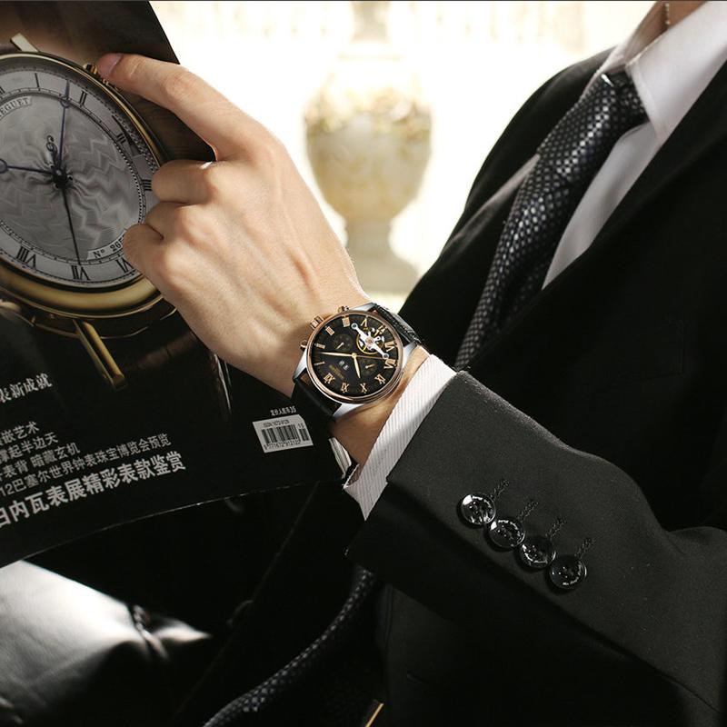 Kinyued J012 カジュアル腕時計ファッションレザー腕時計機械式 kinyued 自動腕時計