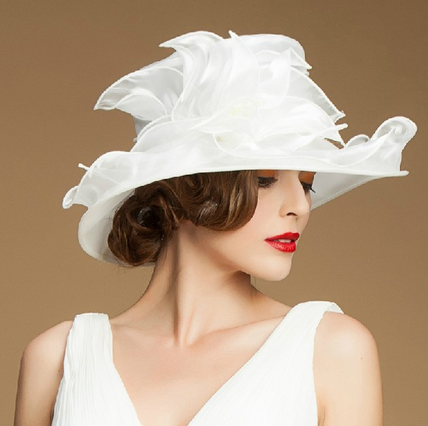 Women Evening Dress Hat Fl Las Wide Brim Sinamay White Church Hats