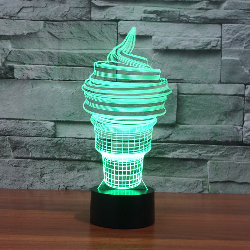 FS-3310 Ice-cream Cone Shape 3D Desk Table Lamp Children 3D Projector Lamp