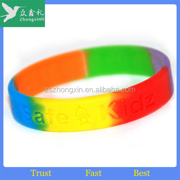 China factory rainbow customized printed silicon wristband with logoCheap rainbow gay pride bracelet