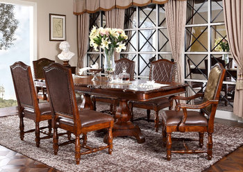 American Classic Brown Extended Wooden Dining Table Set(MOQ=1 SET ...