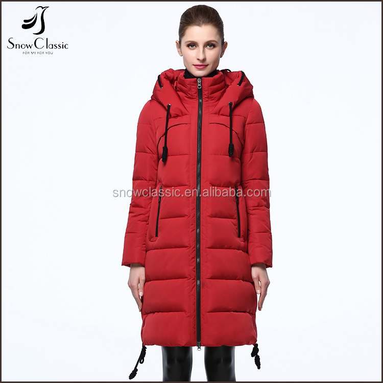 New Model Winter Woman Red Color Soft Shell Long Sleeve Hooded Down Jacket for the Winter