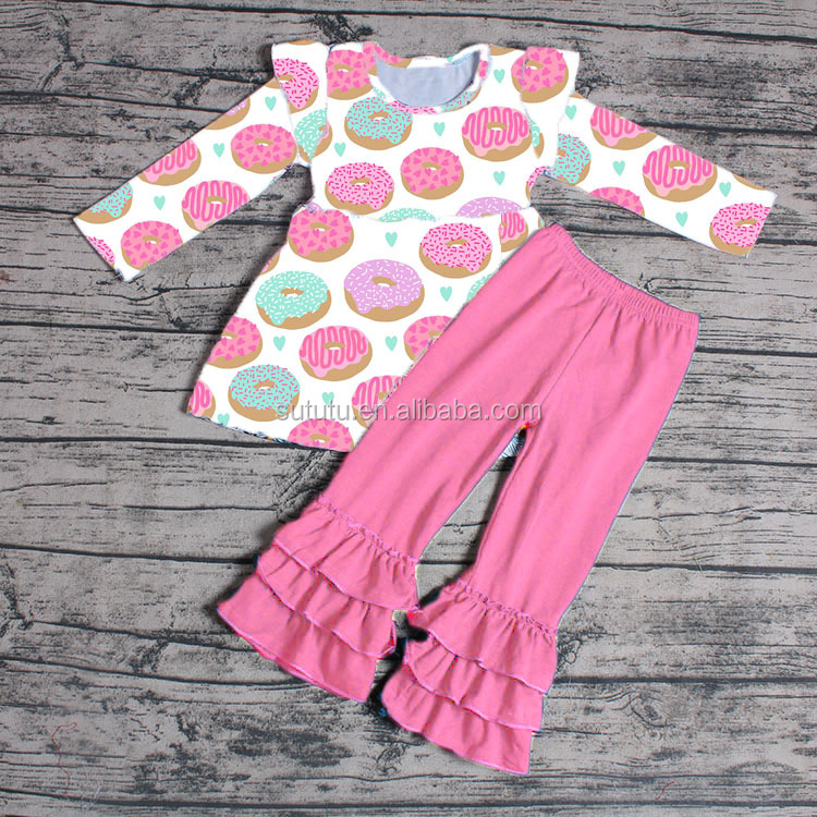 Sue Lucky adorable designs blue stripes with floral prints baby girl clothing set wholesale