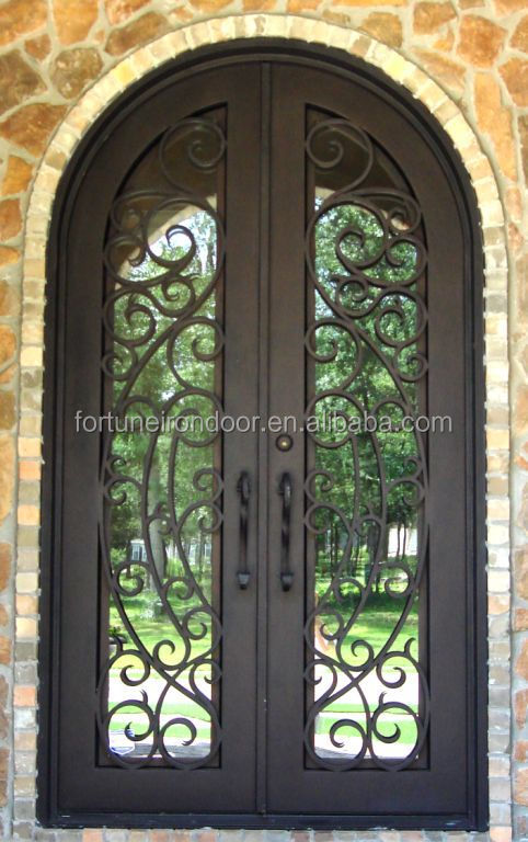 2016 gothic top style wrought iron door home protection popular in Europe Latin American market