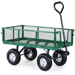 Folding Garden Wagon Utility Trolley Nursery Lawn Cart