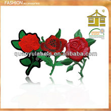 Textile 3d iron on custom rose flower embroidery patch,embroidery rose patches clothes