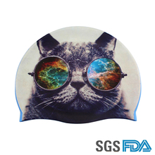 Customized Printing Silicone Rubber Swimming Cap Cartoon Cat Fashional Cool Swim Cap