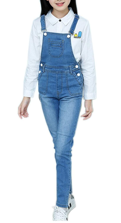 Sitmptol Little Girls Boys Toddler Distressed Romper Holes Jeans Bib Long Denim Overalls Jumpsuit