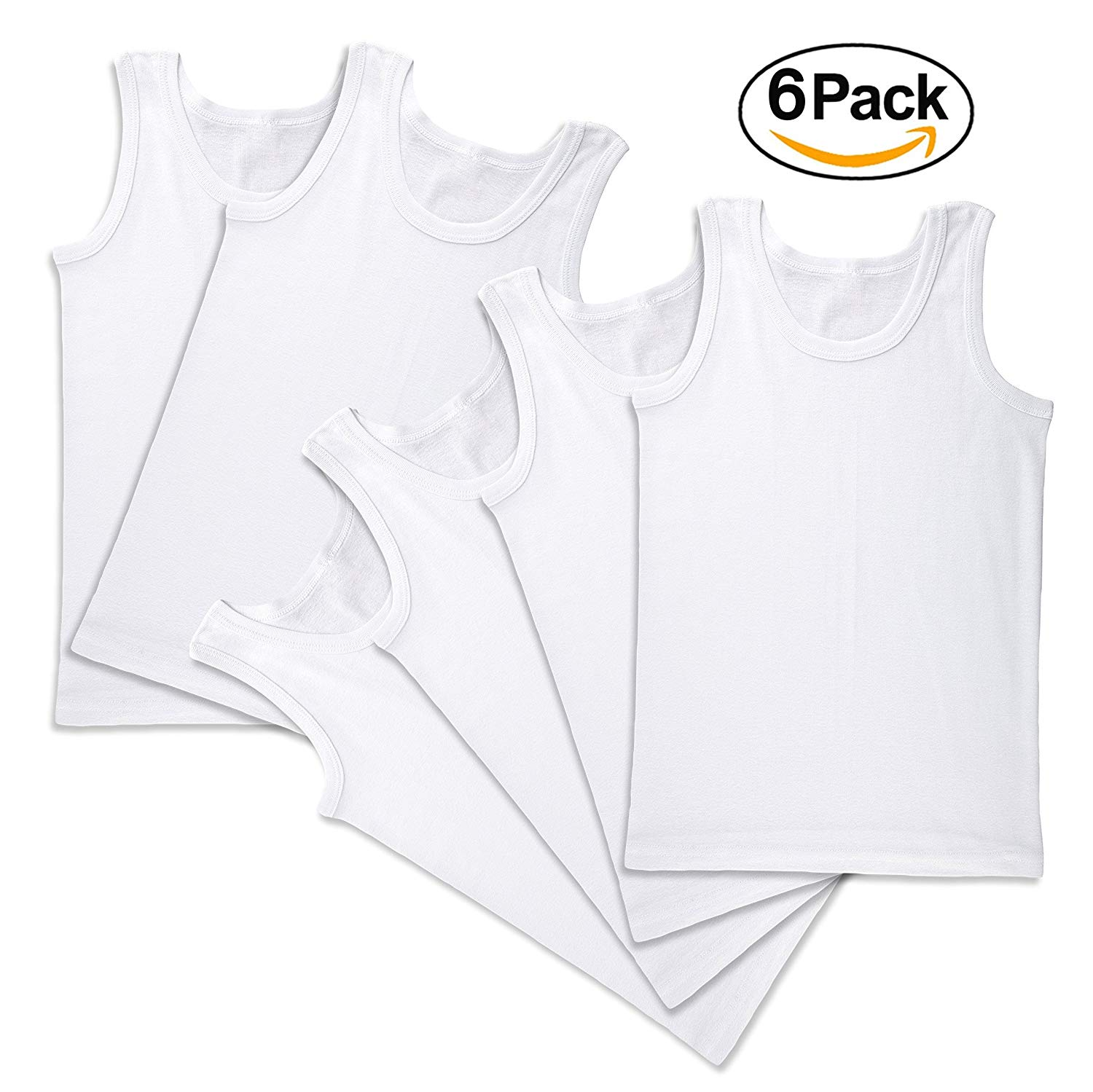 f13d804c748f74 Get Quotations · Agar Place Boys  6 Pack Tank Super Soft 100% Cotton  Undershirt Sleeveless Tees