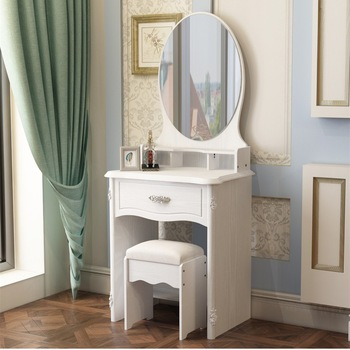 Modern White Princess Dressing Table With Mirror And Drawer