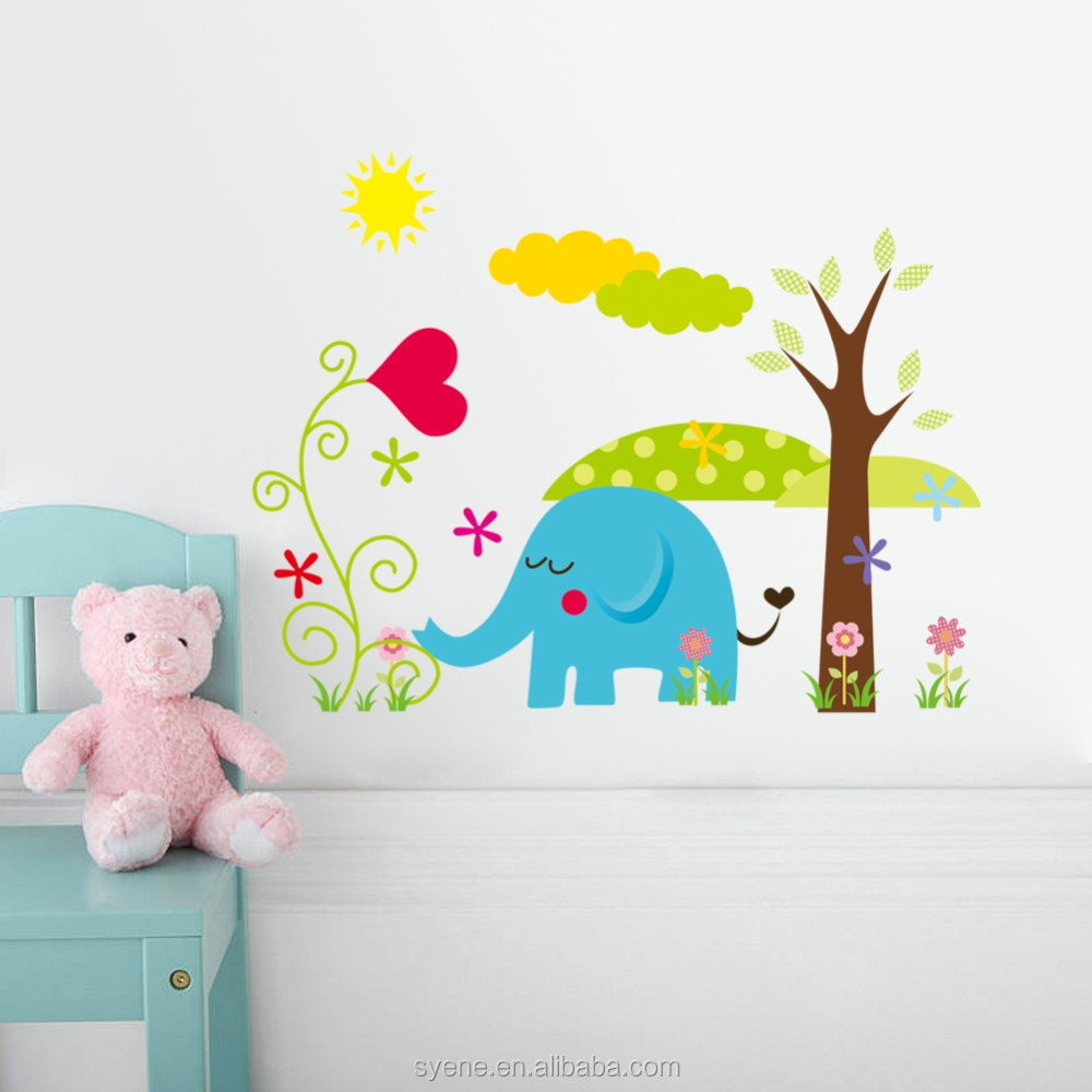 Decoratie Boom Kinderkamer.Cartoon Dieren Muur Sticker Papier Voor Baby Jongen Kamer Jungle Dier Decoratie Boom Muur Stickers Kinderkamer Muursticker Sticker Buy Cartoon