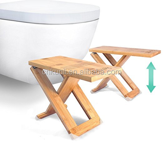 Portable Fully Adjustable Folding Toilet Stool /The Original Foldable and Storable Bathroom Footstool