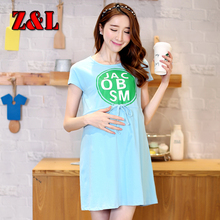 Summter maternity clothing sky blue all knitting cotton dress for pregnant women adjust waist printing letters