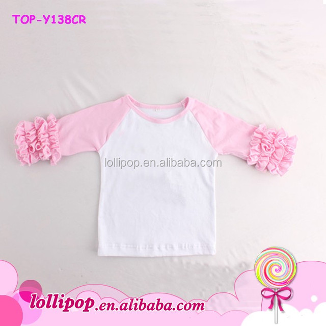 65fb8ff7eaf Fashion custom Infant and toddler 100% Cotton soft 3 4 Triple ruffles  Sleeve Raglan