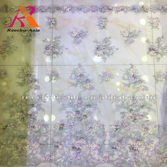 2018 wholesale embroidery beaded with stones lace fabric for dress