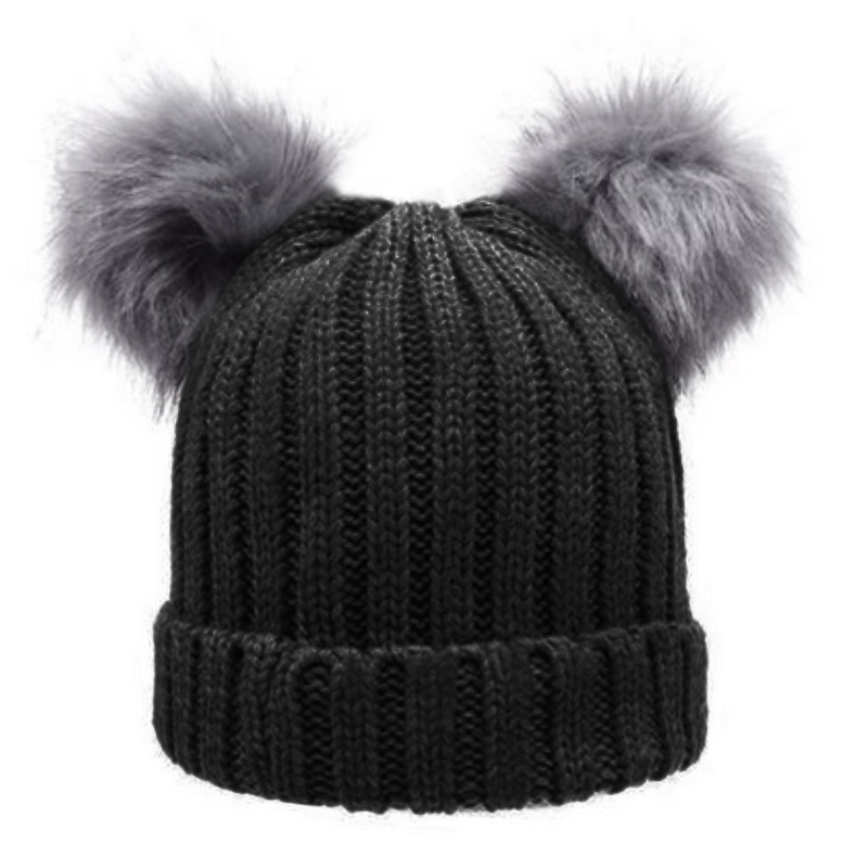 Women S Winter Hat Chunky Knit Double Pom Pom Beanie Cap Faux Fur ... 2987a5e27b0