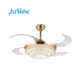 42inch Crystal 3 Retractable Blades LED Three Color Changes Chrome Chandelier Silent Motor Ceiling Fans with Remote Coontrol