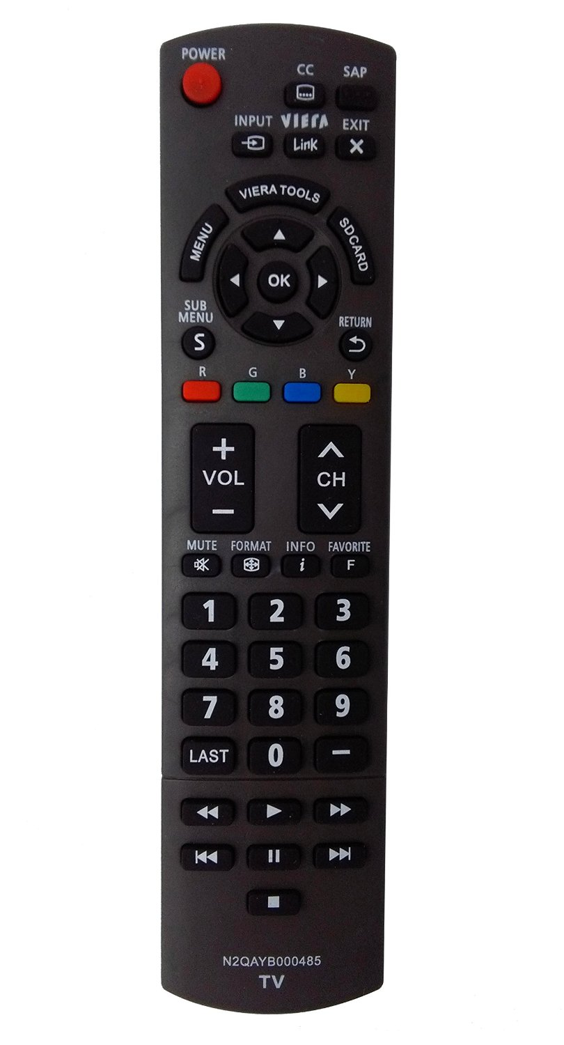 Vinabty New Replaced Remote N2QAYB000485 fit for Panasonic TC-32LX24 TC-42LD24 TC-42LS24 TH37LRU50 TH32LRU50 TC50PS24 TC58PS24 TC65PS24 TH32LRH30U TH32LRU5 TH37LRU5 TC-L22X2 TC-L32C22 TC-L42U22