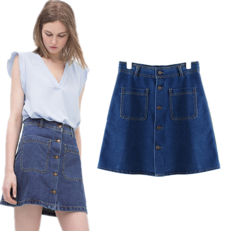 50cef946930 Get Quotations · ZA pocket denim skirt bust skirt fashion casual button 2015  summer new style sexy skirt womens