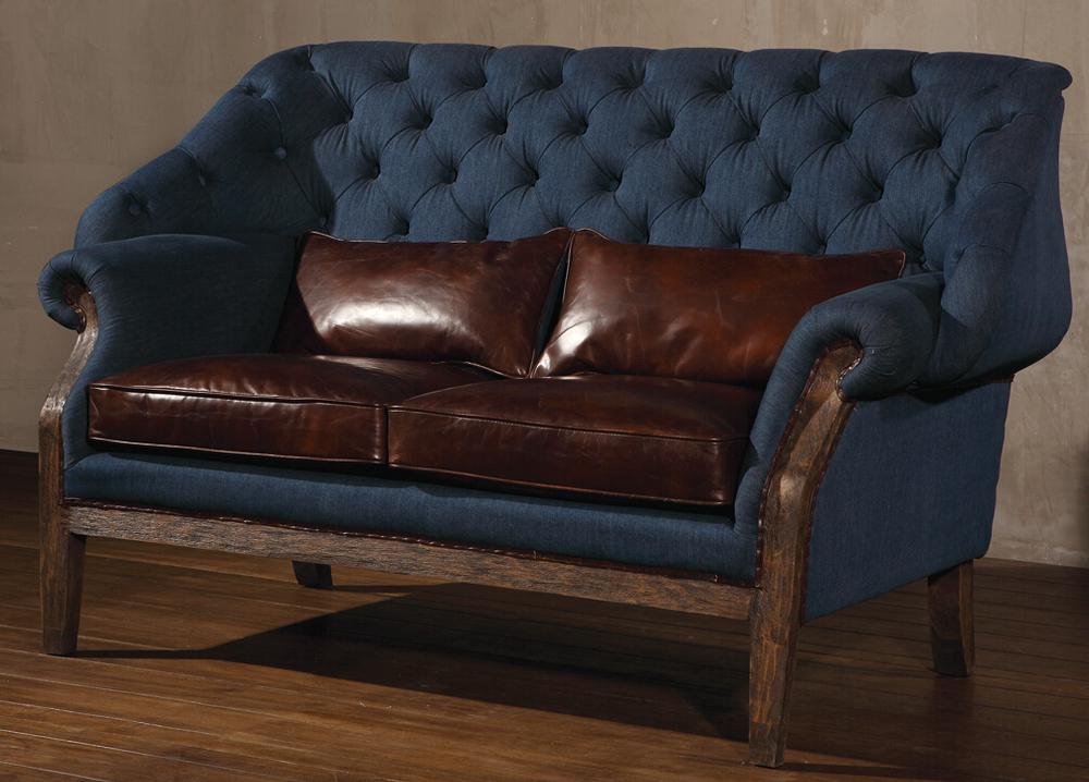 Vintage Blue Denim Fabric 2S Sofa With Oak Wood Legs, View Denim Fabric 2S  Sofa, Defaico Product Details from Henan Defaico Import & Export Company ...