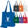 Advertisement fold-up shopper tote bag with snap closure