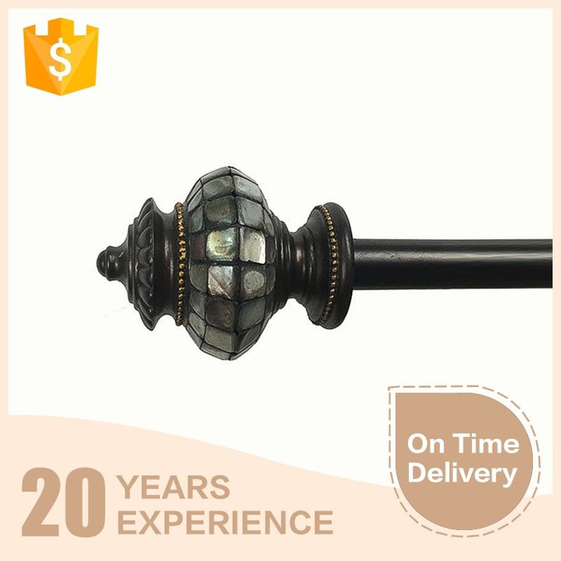 Hot selling elegant crystal finials curtain poles , Stainless steel curtain rod